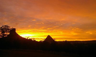Sunset over the Glass House Mountains