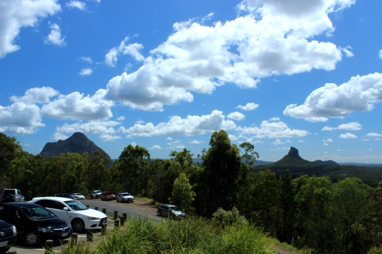 Mount Beerwah and Mount Coonowrin from Glass House Mountains Lookout