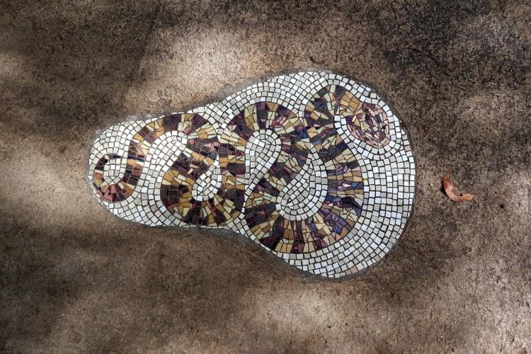 Carpet python mosaic art at Glass House Mountains lookout