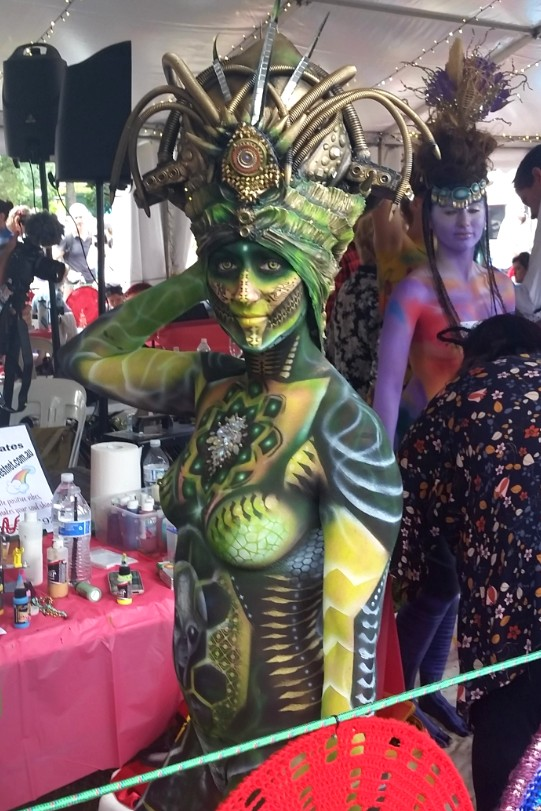 A competitor in the airbrush category of the Australian Body Art Festival 2019.