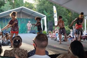 The Gubbi Gubbi Dancers performing at the 2019 Australian Body Art Festival in Cooroy on the Sunshine Coast