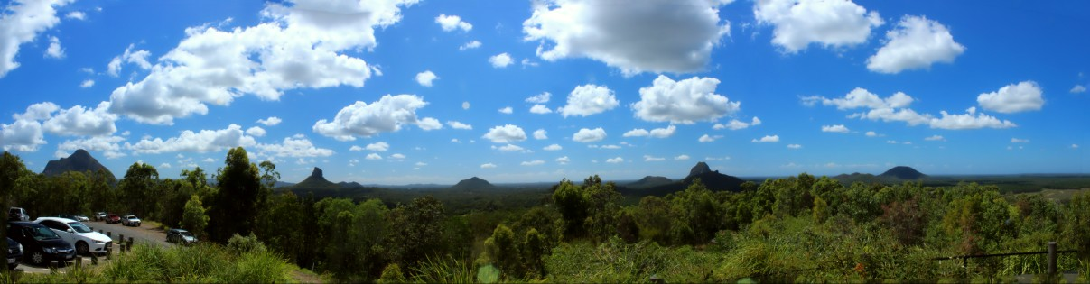 Panoramic view of the Glass House Mountains from GHM Lookout